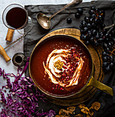 Red Cabbage and Tomato Soup with pomegranate yoghurt