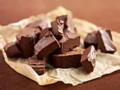 Chocolate fudge on paper