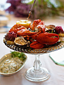 Festive seafood platter with lobster and oysters