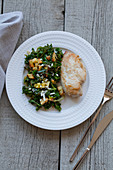 Chicken with kale salad