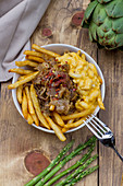 Beef doner, French fries and mac'n'cheese, asparagus, tomato, greens, arugula, cabbage