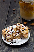 Marshmallow cake and iced coffee