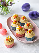 Easter cupcakes decoration with marzipan chicks