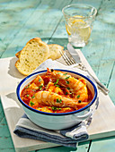 Mediterranean Fish Stew with Garlic Bread
