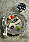 Baked Vanilla Cheesecake with Blueberry Compote