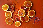 Blood orange, orange and edible petals