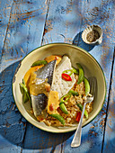 Thai Style Sea Bass with Basmati rice, red Thai curry sauce