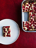 Cranberry cake with pecans on a baking sheet and on a plate