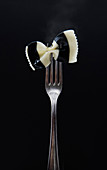 Black and white Farfalle pasta on a fork