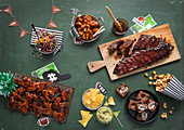 Sweet and savoury party food for a Super Bowl party