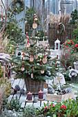 Nordmanntanne geschmückt mit Holzscheiben, Christbaumkugeln, Lichterkette und Kerzen