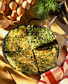 A herb and spinach omelette