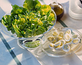 Lettuce with hard-boiled eggs