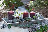 Kerzen und kleiner Strauß mit Christrose und Ilex auf Untersetzer, dekoriert mit Kugeln, Zapfen und Greiskraut