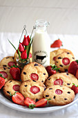 Biscuits with strawberries and chocolate chips
