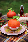 Autumnal table decorations with pumpkins
