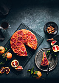 Upside-down cake with caramelised blood oranges, sliced