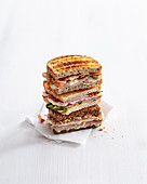 A stack of toasted sandwiches