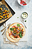 Mixed grain, lentil and sweet potato salad flatbread with mint yogurt