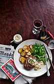 Paris Steak with Sauce and Potatoes