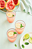 Pink Grapefruit and Mint Mocktail