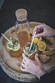 Lemon tea with ginger and rosemary
