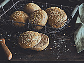 Wholemeal burger buns with sesame seeds
