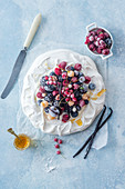 Pavlova with frozen berries
