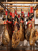 Jamon Iberico in a ripening chamber