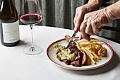 Pasture-fed porterhouse steak with Café de Paris butter and golden fries