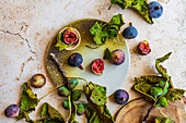 Fresh figs with fig leaves