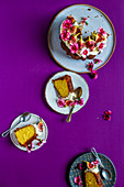 Sliced fig cake with edible flowers