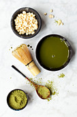 Matcha Tea with matcha powder and white chocolate chips