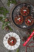 Ruddolph Rice Krispie Treats snow and foliage