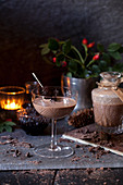 Chocolate liqueur served in vintage glasses with dark cherries