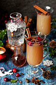 Glasses of Mulled Gin and Tonic in a Festive Setting