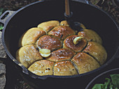 Buchteln (baked, sweet yeast dumplings) made in a Dutch oven