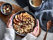 Vegan porridge with apple and cinnamon