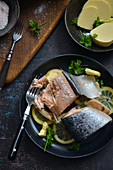 Two bells from Norwegian salmon on lemons Fit dish
