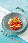 Prawns in tomato sauce with parsnip purée
