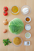 Ingredients for cabbage roulade with a bulgur filling