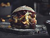 Sweet shredded pancake burger