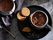 Hot chocolate with biscuits
