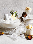 Pina colada dessert punch with edible baubles