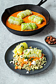 Vegetarian Chinese cabbage roulade in a creamy pepper sauce