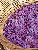 Greek saffron in wooden basket