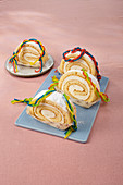 Friendship bracelets on Rainbow Swiss roll