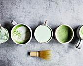 Making a matcha tea and matcha latte