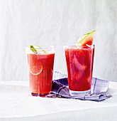 Strawberry and mint lemonade and watermelon punch