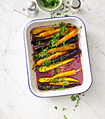 Rainbow carrots with honey and thyme